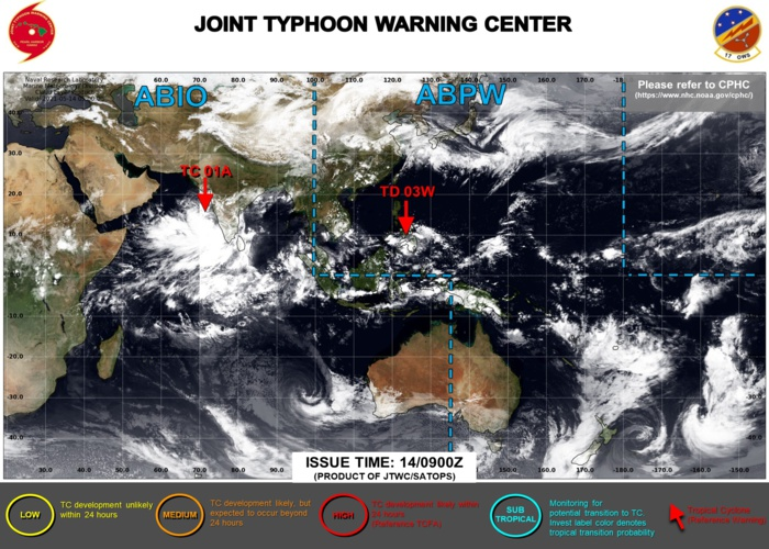14/09UTC. JTWC IS ISSUING 6HOURLY WARNINGS ON TD 03W AND TC 01A. 3HOURLY SATELLITE BULLETINS ARE ISSUED FOR BOTH SYSTEMS.