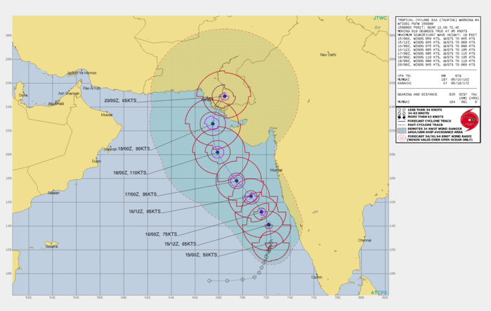 TC 01A(TAUKTAE). WARNING 4 ISSUED AT 15/03UTC.UPPER-LEVEL ANALYSIS INDICATES VERY FAVORABLE ENVIRONMENTAL  CONDITIONS WITH NEARLY RADIAL OUTFLOW, LOW VERTICAL WIND SHEAR AND  WARM (31C) SST VALUES. TC 01A IS TRACKING POLEWARD ALONG THE WESTERN  PERIPHERY OF A DEEP-LAYERED SUBTROPICAL RIDGE (STR) POSITIONED TO  THE EAST. TC 01A IS FORECAST TO GRADUALLY TURN NORTH-NORTHWESTWARD  THROUGH 72H BEFORE RECURVING NORTH-NORTHEASTWARD AFTER 96H. DUE TO THE EXCELLENT ENVIRONMENTAL CONDITIONS, TC 01A IS EXPECTED TO  INTENSIFY RAPIDLY AFTER 24H WITH A PEAK OF 110 KNOTS/US CAT 3 BY 72H.  STEADY WEAKENING WILL OCCUR AS THE SYSTEM APPROACHES THE  PAKISTAN/INDIA BORDER WITH RAPID WEAKENING AFTER THE SYSTEM MAKES  LANDFALL.