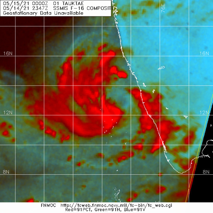 TC 01A(TAUKTAE). SSMIS  91GHZ IMAGE SHOWS A BAND OF DENSE CONVECTION SITUATED TO THE SOUTH  OF THE CURRENT POSITION.