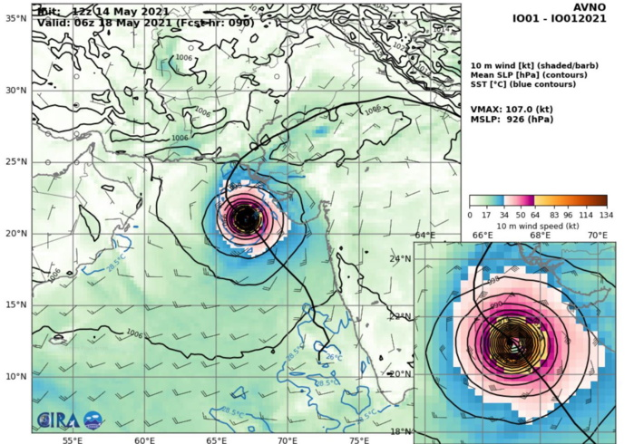 TC 01A(TAUKTAE). 14/12UTC. AVN(GFS) SHOWS PEAK INTENSTY ABOVE 100KNOTS AT +90H WHICH IS INDICATIVE OF HIGH DEVELOPMENT POTENTIAL.
