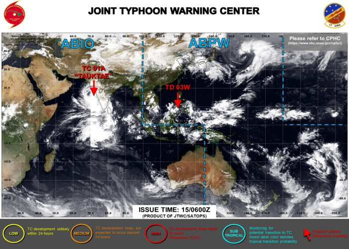 JTWC IS ISSUING 6HOURLY WARNINGS ON TC 01A(TAUKTAE). FINAL WARNING ON TD 03W WAS ISSUED AT 14/21UTC. 3HOURLY SATELLITE BULLETINS ARE ISSUED FOR BOTH SYSTEMS.