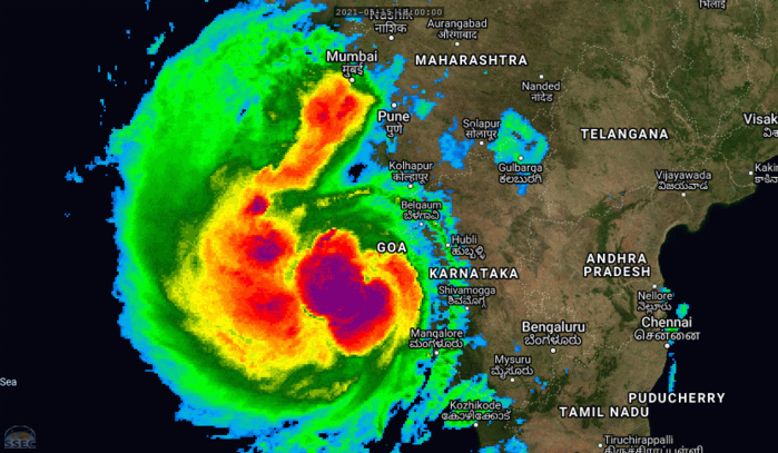 TC 01A(TAUKTAE). ANIMATED MULTISPECTRAL SATELLITE IMAGERY SHOWS A DEEPENING SYSTEM THAT HAS  BECOME MORE COMPACT. ALSO, FEEDER BANDS, ESPECIALLY ALONG THE  WESTERN PERIPHERY HAVE WRAPPED TIGHTER INTO THE CENTRAL CONVECTION  THAT HAS BECOME MORE DENSE AND CONTINUED TO MAINTAIN AN EVOLVING,  PINHOLE EYE. IF NECESSARY CLICK TO ANIMATE.