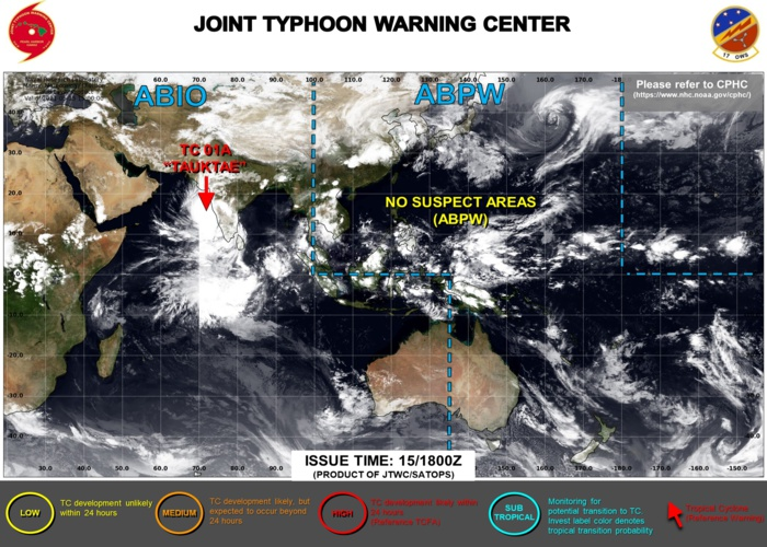 JTWC IS ISSUING 6HOURLY WARNINGS AND 3HOURLY SATELLITE BULLETINS ON TC 01A(TAUKTAE).