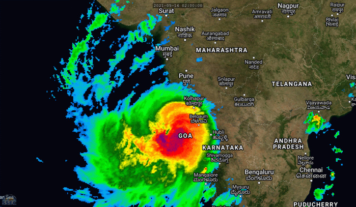 TC 01A(TAUKTAE). 16/14UTC. 12H LOOP. ANIMATED MULTISPECTRAL SATELLITE IMAGERY  (MSI) ALONG WITH ENHANCED INFRARED SATELLITE IMAGERY (EIR) SHOWS A  DEEP COMPACT SYSTEM WITH A RAGGED 31KM EYE.