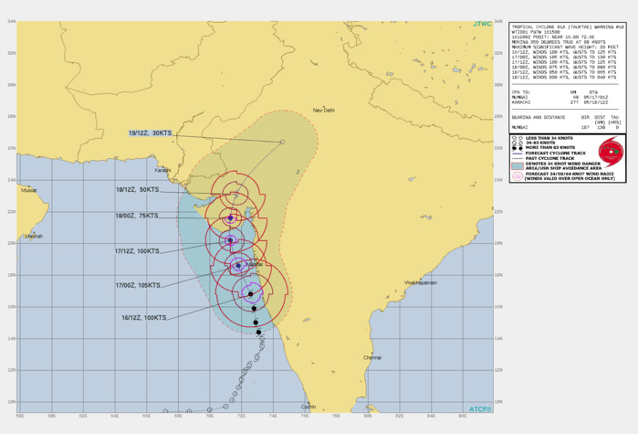TC 01A(TAUKTAE). WARNING 10 ISSUED AT 16/15UTC.THE UPPER-LEVEL ANALYSIS INDICATES FAVORABLE ENVIRONMENTAL CONDITIONS WITH STRONG POLEWARD OUTFLOW, LOW  TO MODERATE VERTICAL WIND SHEAR AND WARM (30-31C) SEA  SURFACE TEMPERATURES. TC 01A WILL CONTINUE ON ITS CURRENT TRACK  THROUGH 24H ALONG THE WESTERN PERIPHERY OF A DEEP-LAYERED  SUBTROPICAL RIDGE TO THE EAST. THE SYSTEM IS CURRENTLY UNDERGOING  RAPID INTENSIFICATION (RI), FUELED BY A FAVORABLE ENVIRONMENT  LASTING THROUGH THE NEXT 6 HOURS AND WILL REACH A PEAK INTENSITY OF  105 KNOTS/US CAT 3. THEREAFTER, THE SYSTEM WILL BEGIN A WEAKENING TREND AS IT  ENTERS A REGION OF HIGHER SHEAR, ROUNDS THE RIDGE AXIS, AND THEN  MAKES LANDFALL BETWEEN VERAVAL AND MAHUVA, INDIA, BETWEEN 24H AND  36H. AFTER MAKING LANDFALL, THE SYSTEM WILL BEGIN TO WEAKEN RAPIDLY  OVER THE RUGGED TERRAIN BEFORE COMPLETING DISSIPATION BY 72H,  POSSIBLY SOONER.