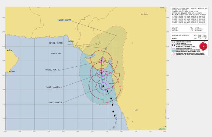 TC 01A. WARNING 12 ISSUED AT 17/03UTC.ANALYSIS INDICATES FAVORABLE ENVIRONMENTAL CONDITIONS WITH GOOD POLEWARD OUTFLOW, LOW  (10-15KTS) VERTICAL WIND SHEAR (VWS); AND WARM (30-31C) SEA SURFACE  TEMPERATURES (SST). TC 01A WILL CONTINUE ON ITS NORTHERLY CURRENT  TRACK ALONG THE WESTERN PERIPHERY OF A DEEP-LAYERED SUBTROPICAL  RIDGE TO THE EAST UNTIL IT MAKES LANDFALL NEAR JAFARABAD, INDIA BY  18H. THE SYSTEM IS EXPECTED TO DECREASE IN INTENSITY AS IT ENTERS  AN AREA OF GREATER VWS IN CONJUNCTION WITH TERRAIN INTERACTION AND  SLIGHTLY COOLER SST NEARSHORE AS IT TRACKS NORTH. AFTER LANDFALL,  THE CYCLONE WILL RAPIDLY ERODE AS IT TRACKS ACROSS THE RUGGED  TERRAIN, LEADING TO DISSIPATION BY 48H.