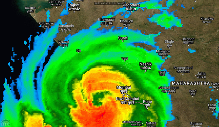 TC 01A(TAUKTAE). 17/14UTC. 12H LOOP. 01A REMAINS AN INTENSE SYSTEM WITH TOP GUSTS STILL CURRENTLY EXCEEDING 200KM/H CLOSE TO ITS EYE. THE SYSTEM SHOULD BE MAKING LANDFALL NEAR JAFRABAD/GUJARAT WITHIN THE NEXT 12HOURS. CLICK TO ANIMATE.