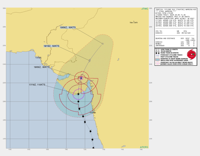 TC 01A. WARNING 15 ISSUED AT 17/21UTC. THE OVERALL ENVIRONMENT REMAINS CONDUCIVE, WITH LOW VERTICAL WIND SHEAR(VWS) AND GOOD POLEWARD OUTFLOW. NOW THAT THE SYSTEM IS OVER  LAND HOWEVER, IT IS EXPECTED TO RAPIDLY WEAKEN DUE TO THE  COMBINATION OF LAND INTERACTION AND RAPIDLY INCREASING VWS AS IT  TRACKS NORTHEASTWARD. SIGNIFICANT SOUTHERLY WINDS ARE STILL POSSIBLE  IN THE GULF OF KHAMBAHT THROUGH 12H EVEN THOUGH THE SYSTEM ITSELF  WILL BE CENTERED WELL INLAND. TC 01A IS FORECAST TO FULLY DISSIPATE  AS A TROPICAL CYCLONE BY 36H AS IT MOVES ACROSS THE ARAVALLI  MOUNTAINS. THIS IS THE FINAL WARNING ON THIS SYSTEM BY THE JOINT  TYPHOON WRNCEN PEARL HARBOR HI.