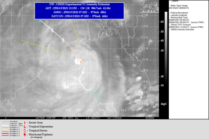 TC 02B(YAAS). WARNING 7 ISSUED AT 25/15UTC.TC 02B RESIDES IN A MARGINALLY FAVORABLE ENVIRONMENT WITH  ROBUST RADIAL OUTFLOW ALOFT AND WARM (30-31 C) SEA SURFACE  TEMPERATURES OFFSET BY LOW TO MODERATE RELATIVE VERTICAL WIND SHEAR  (15-20KTS). THE SYSTEM IS FORECAST TO REMAIN IN THE MARGINALLY  FAVORABLE ENVIRONMENT FOR THE NEXT 12 HOURS UP TO LANDFALL JUST  BEFORE 26/12UTC. TC 02B WILL REMAIN AT ITS PEAK INTENSITY OF 65KNOTS/US CAT 1 AS  IT TRACKS NORTH-NORTHWEST ALONG THE WESTERN PERIPHERY OF A  SUBTROPICAL RIDGE TO THE NORTHEAST. SHORTLY AFTER 12H, TC 02B IS  EXPECTED TO MAKE LANDFALL NEAR THE MOUTH OF THE ESTUARY OF  BUDHABALANGA RIVER, INDIA. AFTER MAKING LANDFALL, THE SYSTEM WILL  BEGIN DECAYING DUE TO LAND INTERACTION AND FULLY DISSIPATE BY  48H, IF NOT SHORTLY AFTER.