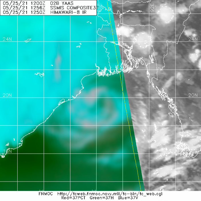 TC 02B. 25/1237UTC. MICROWAVE(37) DEPICTED VERY WELL THE LOW LEVEL CIRCULATION CENTER.