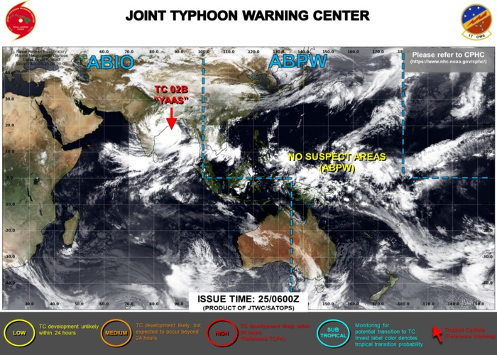 JTWC HAS BEEN ISSUING 6HOURLY WARNINGS AND 3HOURLY SATELLITE BULLETINS ON TC 02B(YAAS).