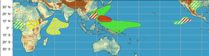 WEEK 2: JUNE 02 TO JUNE 08: During week-2, the favored area for TC formation extends west to include parts of the South China Sea northeast to Taiwan. The GFS model continues to depict a TC developing over the South Indian Ocean during week-1. However, forecast confidence is only moderate due to the lack of strong model support.