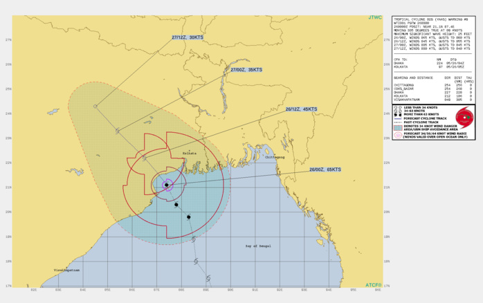 TC 02B(YAAS). WARNING 9 ISSUED AT 26/03UTC.ENVIRONMENTAL ANALYSIS INDICATES TC 02B IS NOW UNDER AN AREA OF  WEAKER OUTFLOW ALOFT AND MODERATE VERTICAL WIND SHEAR (15-20KTS)  WHICH WILL CONTRIBUTE TO GRADUAL WEAKENING AS THE STORM INTERACTS  WITH THE LAND. AFTER MAKING LANDFALL NEAR THE MOUTH OF THE ESTUARY  OF BUDHABALANGA RIVER, INDIA, THE SYSTEM WILL RAPIDLY DECAY DUE TO  INTERACTION WITH THE RUGGED TERRAIN AND FULLY DISSIPATE BY 36H.