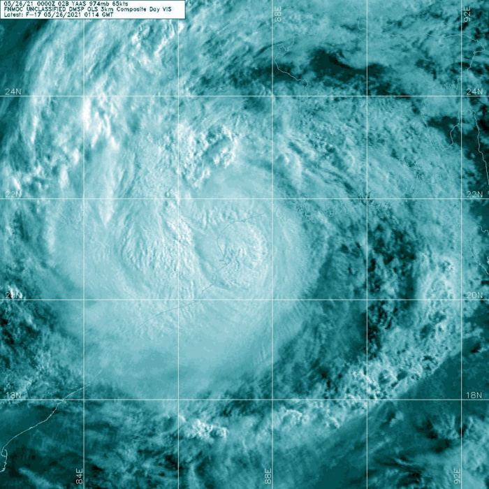 TC 02B(YAAS). 26/0114UTC. DMSP VISIBLE ENHANCED.MULTISPECTRAL SATELLITE IMAGERY DEPICTS DEEP CONVECTIVE BANDING  WRAPPING INTO A WELL-DEFINED LOW LEVEL CIRCULATION CENTER (LLCC)  WHICH HAS MAINTAINED AN OVERALL CONVECTIVE SIGNATURE, ALBEIT WITH  EARLY SIGNS OF DECAY DUE TO PROXIMITY TO SHORE.