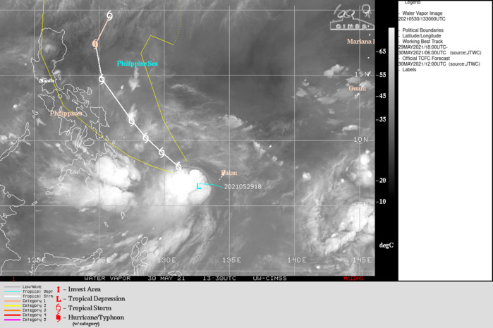 TS 04W. WARNING4 ISSUED AT 30/15UTC.TS 04W REMAINS IN A FAVORABLE ENVIRONMENT WITH FAIR WESTWARD AND  EQUATORWARD OUTFLOW, LOW (5-10KTS) VERTICAL WIND SHEAR (VWS) ALOFT,  AND VERY WARM (30-31C) SEA SURFACE TEMPERATURES (SST) IN THE  PHILIPPINE SEA. THE CYCLONE IS TRACKING ALONG THE SOUTHWEST  PERIPHERY OF THE SUBTROPICAL RIDGE (STR) TO THE EAST-NORTHEAST.  TS 04W WILL TRACK MORE NORTHWESTWARD OVER THE NEXT 72 HOURS  UNDER THE STEERING INFLUENCE OF THE STR. THE SYSTEM WILL GRADUALLY  INTENSIFY UNDER THE AFOREMENTIONED FAVORABLE CONDITIONS AND BY 72H, WHICH WILL REACH 60KNOTS.  AFTER 72H, TD 04W WILL CONTINUE ON ITS NORTHWESTWARD TRACK  UNDER THE SAME STR; HOWEVER, BY 96H, THE SYSTEM WILL BEGIN TO  ROUND THE RIDGE AXIS THEN ACCELERATE NORTHEASTWARD. THE FAVORABLE  CONDITIONS WILL PERSIST AND INTENSIFY THE CYCLONE SLIGHTLY, TO A  PEAK INTENSITY OF 65KNOTS/ US CAT 1 BY 96H. AFTERWARD, AS IT BECOMES EXPOSED  TO INCREASED POLEWARD OUTFLOW ASSOCIATED WITH THE PREVAILING  WESTERLIES UNDER THE POLAR FRONT JET, TD 04W WILL RAPIDLY DECAY DUE  TO INCREASING VWS TO 45KNOTS BY 120H.