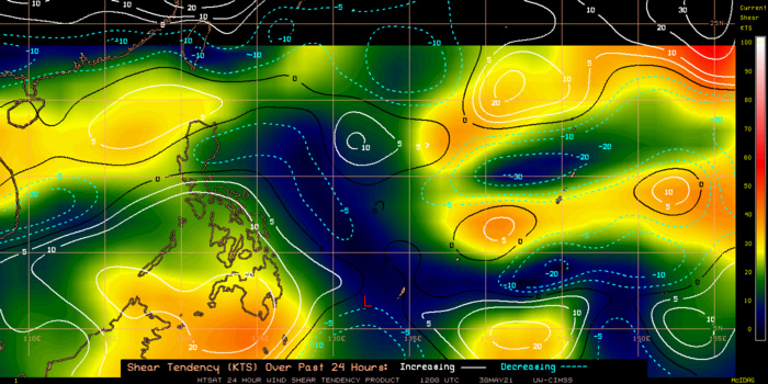 TS 04W. 30/12UTC.24H SHEAR TENDENCY.UW-CIMSS Experimental Vertical Shear and TC Intensity Trend Estimates: CIMSS Vertical Shear Magnitude : 4.4 m/s (8.6 kts)Direction : 46.2deg Outlook for TC Intensification Based on Current Env. Shear Values and MPI Differential: VERY FAVOURABLE OVER 24H.