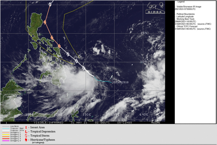 TS 04W(CHOI-wan). ANIMATED MULTISPECTRAL SATELLITE IMAGERY SHOWS THE LOW-LEVEL CIRCULATION (LLC) IS PARTIALLY EXPOSED,  OFFSETTING THE REGION OF DEEPENED CENTRAL CONVECTION WITH  OVERSHOOTING CLOUD TOPS JUST SOUTHWEST OF THE MAIN LLC. IF NECESSARY CLICK TO ANIMATE.