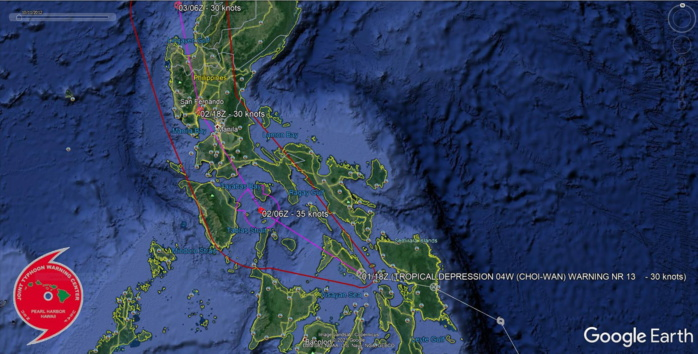 TD 04W. WARNING 13. FORECAST TRACK OVER THE SIBUYAN SEA THEN TO THE WEST OF MANILA WITHIN 24H.