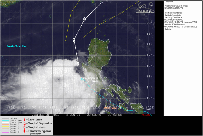 TS 04W. ANIMATED MULTISPECTRAL SATELLITE  IMAGERY SHOWS A SYSTEM THAT HAS DEEPENED, ALBEIT WITH A  PARTIALLY EXPOSED LOW LEVEL CIRCULATION (LLC) AS THE BROAD CENTRAL  CONVECTION HAS BECOME OFFSET TO THE SOUTHWEST.