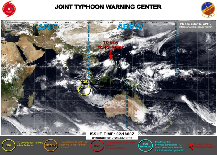 03/03UTC. JTWC HAS BEEN ISSUING 6HOURLY WARNINGS AND 3HOURLY SATELLITE BULLETINS ON 04W. INVEST 93S IS DOWN-GRADED TO LOW. 3HOURLY SATELLITE BULLETINS ON 93S HAVE BEEN DISCONTINUED.