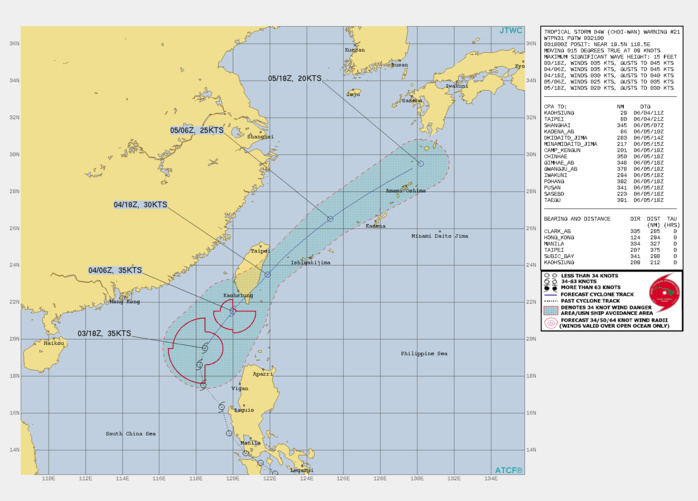 TS 04W. WARNING 21 ISSUED AT 03/21UTC.THE SYSTEM IS IN A MARGINAL ENVIRONMENT WITH GOOD WESTWARD AND EQUATORWARD OUTFLOW AND VERY WARM  (30-31C) SEA SURFACE TEMPERATURES, OFFSET BY MODERATE TO STRONG (20- 25KT) VERTICAL WIND SHEAR(VWS) FROM THE NORTHEAST. THE CYCLONE IS  TRACKING ALONG THE WESTERN PERIPHERY OF THE SUBTROPICAL RIDGE (STR)  TO THE EAST. THE FORECAST TRACK HAS BEEN REDUCED 48H TO INDICATE DISSIPATION OVER WATER  SOUTH OF KYUSHU, JAPAN.TS 04W HAS BEGUN TO MAKE ITS TURN NORTHEASTWARD AROUND THE  AXIS OF THE STR AND AFTER 12H WILL BEGIN TO WEAKEN DUE TO  INTERACTION WITH THE SOUTHERN PORTION OF THE CHUNGYANG MOUNTAIN  RANGE IN TAIWAN. BY 24H, TS 04W WILL WEAKEN TO 30 KNOTS DUE TO  INCREASING VWS ASSOCIATED WITH STRONG NORTHEASTERLY FLOW FROM A  SECONDARY STR ANCHORED OVER SOUTHEASTERN CHINA. BY 36H, THE  SYSTEM WILL WEAKEN TO 25 KNOTS AS IT PASSES EAST-NORTHEAST OF KADENA  AIR BASE. AT 48H, THE SYSTEM WILL BE FULLY DISSIPATED AS IT GETS  ABSORBED INTO THE MEI-YU FRONTAL BOUNDARY APPROACHING FROM THE WEST,  POSSIBLY SOONER.
