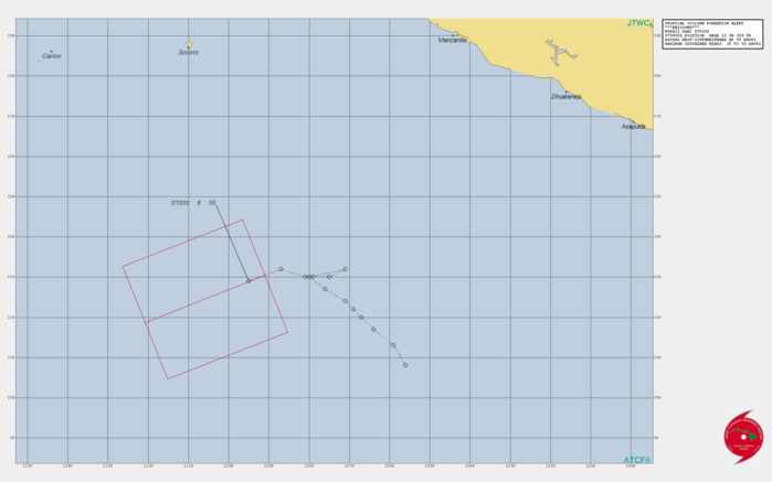 INVEST 92E. TROPICAL CYCLONE FORMATION ALERT ISSUED AT 07/03UTC.FORMATION OF A SIGNIFICANT TROPICAL CYCLONE IS POSSIBLE WITHIN 170 KM EITHER SIDE OF A LINE FROM 13.1N 109.1W TO 11.9N 112.1W WITHIN THE NEXT 12 TO 24 HOURS. AVAILABLE DATA DOES NOT JUSTIFY ISSUANCE OF NUMBERED TROPICAL CYCLONE WARNINGS AT THIS TIME. WINDS IN THE AREA ARE ESTIMATED TO BE 25 TO 30 KNOTS. METSAT IMAGERY AT 060200Z INDICATES THAT A CIRCULATION CENTER IS LOCATED NEAR 12.9N 109.5W. THE SYSTEM IS MOVING WEST-SOUTHWESTWARD AT 15 KM/H.THE AREA OF CONVECTION (INVEST 92E) PREVIOUSLY LOCATED  NEAR 13.0N 107.5W IS NOW LOCATED NEAR 12.9N 109.5W, APPROXIMATELY  1249 NM SOUTH-SOUTHEAST OF SAN DIEGO, CALIFORNIA. ANIMATED ENHANCED  INFRARED SATELLITE IMAGERY (EIR) AND A 062309Z SSMIS 91GHZ MICROWAVE  IMAGE DEPICT AREAS OF DEEP CONVECTION OFFSET TO THE NORTHWEST OF AN  EXPOSED LOW LEVEL CIRCULATION CENTER (LLCC). ENVIRONMENTAL ANALYSIS  INDICATES FAVORABLE CONDITIONS FOR DEVELOPMENT WITH SUPPORTING  DIVERGENCE ALOFT, LOW (10-15 KTS) VERTICAL WIND SHEAR (VWS), AND  WARM (29-30C) SEA SURFACE TEMPERATURES. THE SYSTEM HAS A SHORT  WINDOW FOR DEVELOPMENT AS IT WILL MOVE INTO AN UNFAVORABLE SHEAR AND  OUTFLOW ENVIRONMENT IN THE NEXT 24 TO 36 HOURS. SHOULD THE SYSTEM  FORM, IT IS EXPECTED TO TRACK WEST-SOUTHWESTWARD.