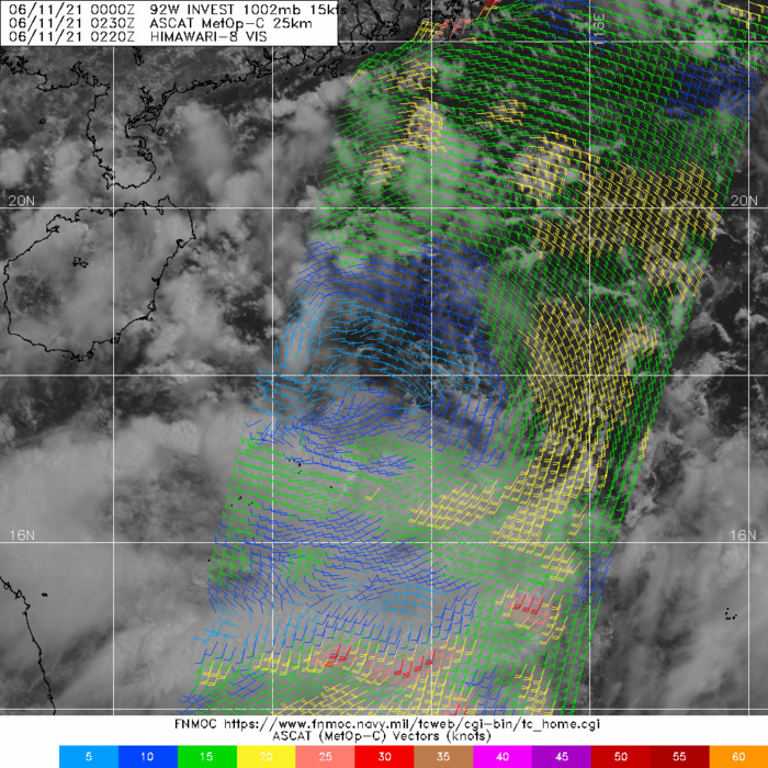 INVEST 92W.ASCAT METOP-C IMAGE SHOWS THAT THE RADIUS OF MAX WINDS EXTENDS APPROXIMATELY 280KM FROM THE CENTER, INDICATING THAT 92W REMAINS A MONSOON DEPRESSION.