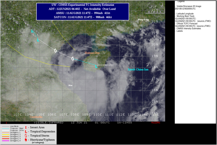 TD 05W. ANIMATED MULTISPECTRAL SATELLITE IMAGERY  SHOWS THE RAGGED AND PARTLY EXPOSED LOWEL CIRCULATION TRACKED  ACROSS SOUTHERN HAINAN ISLAND WITH THE ASSOCIATED DISORGANIZED CONVECTION  SHEARED WESTWARD AND SOUTHWESTWARD. IF NECESSARY CLICK ON THE IMAGERY TO ANIMATE IT.