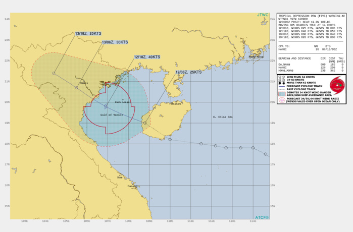 TD 05W. WARNING 2 ISSUED AT 12/09UTC.THE INITIAL POSITION IS PLACED WITH FAIR CONFIDENCE BASED ON THE LOW LEVEL CIRCULATION FEATURE IN THE MULTISPECTRAL SAT IMAGERY ANIMATION THAT  COINCIDED WITH A WEAK CIRCULATION FEATURE IN A RADAR LOOP FROM CMA. THE  INITIAL INTENSITY OF 25KNOTS IS EXTRAPOLATED FROM NEARBY OBSERVATIONS  INCLUDING A SHIP REPORT (23KNOTS/999MB) 140KM TO THE NORTHWEST AND  CONSISTENT WITH THE CONVECTIVE SIGNATURE. THE SYSTEM IS IN A MARGINAL  ENVIRONMENT WITH GOOD WESTWARD AND EQUATORWARD OUTFLOW OFFSET BY MODERATE  (15-20KTS) VERTICAL WIND SHEAR (VWS). THE SYSTEM IS TRACKING ALONG THE  SOUTHWESTERN PERIPHERY OF THE SUBTROPICAL RIDGE (STR) TO THE EAST- NORTHEAST.TD 05W WILL CONTINUE ON ITS CURRENT TRACK UNDER THE SUBTROPICAL RIGDE, CROSS THE  GULF OF TONKIN, MAKE LANDFALL OVER NORTHERN VIETNAM AROUND 18H, THEN  TRACK INLAND. THE ROBUST OUTFLOW AND THE WARM SEA SURFACE TEMPS IN THE GULF WILL OFFSET  THE VWS AND FUEL INTENSIFICATION TO A PEAK OF 45KNOTS BY 12H. AFTERWARD,  LAND INTERACTION WITH THE RUGGED TERRAIN WILL RESULT IN A RAPID DECAY  LEADING TO DISSIPATION BY 36H AFTER IT PASSES JUST SOUTH OF HANOI.