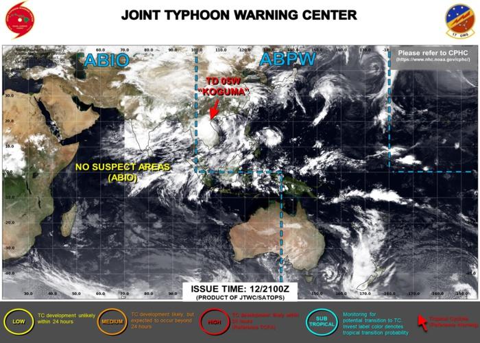 12/21UTC. JTWC ISSUED THE FINAL WARNING ON 05W(KOGUMA) AT 12/21UTC. 3HOURLY SATELLITE BULLETINS ARE STILL ISSUED.