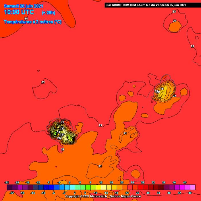SAMEDI: les maximales absolues pourront atteindre  26/27° sur les franges littorales Nord et Ouest des ILES SOEURS. Mais il faudra retrancher 4 voire 5 degrés à ces valeurs là où le ciel sera nuageux et même pluvieux. En hauteur on attend à peine plus de 10° au volcan et autour de 18/19° à Grand Bassin/Maurice. Arome.MFRANCE.MCIEL.