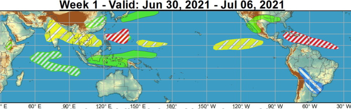 Over the West Pacific, formation odds are enhanced from the northern Philippines to near Guam during week-1.