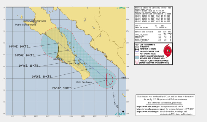 EASTERN NORTH PACIFIC. 05E(ENRIQUE). WARNING 19 ISSUED AT 29/22UTC. INTENSITY IS FORECAST TO FALL BELOW 35KNNOTS WITHIN 12HOURS.