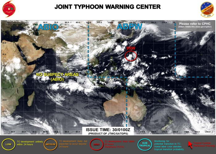 INVEST 95W IS UP-GRADED TO HIGH. 3HOURLY SATELLITE BULLETINS ARE ISSUED BY THE JTWC ON THIS SYSTEM.