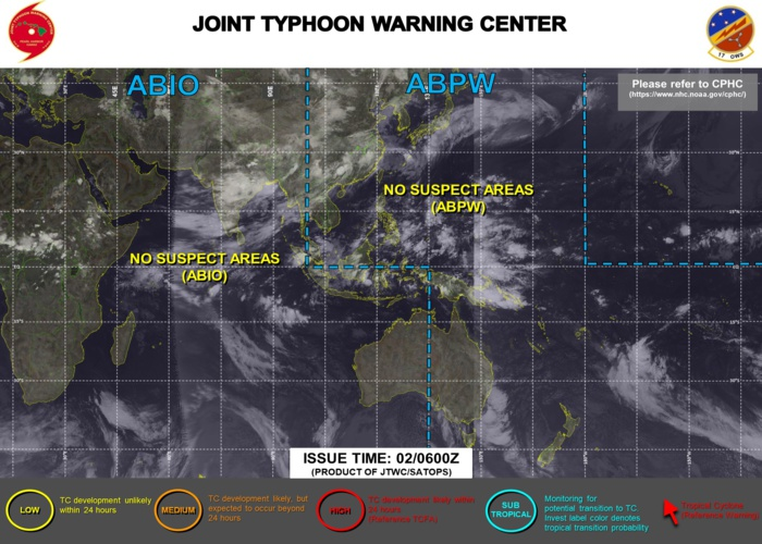 02/06UTC. NO CURRENT SUSPECT AREAS OVER THE JTWC AREA OF RESPONSABILITY.