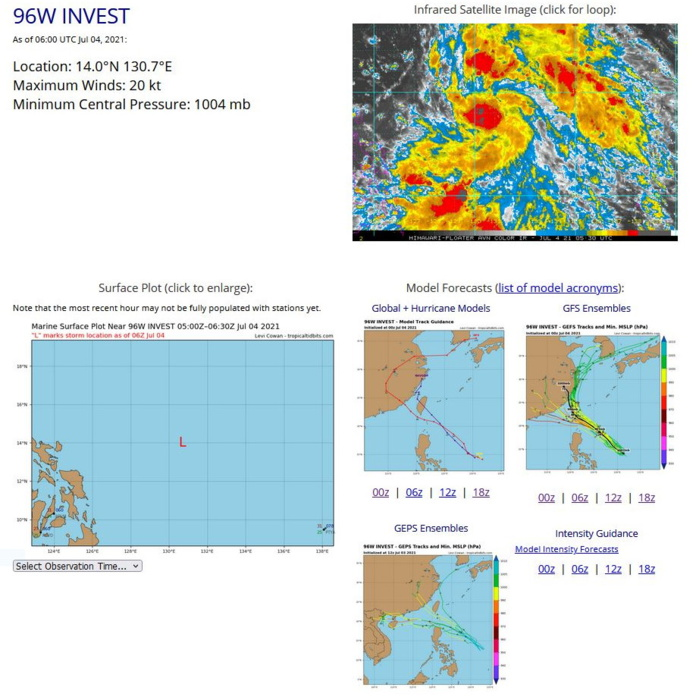 INVEST 96W.ANIMATED MULTISPECTRAL SATELLITE  IMAGERY (MSI) AND A 040444Z AMSR2 89GHZ MICROWAVE IMAGE DEPICT  CURVED DEEP CONVECTIVE BANDING WRAPPING INTO A LOW LEVEL  CIRCULATION. ENVIRONMENTAL ANALYSIS SHOWS FAVORABLE CONDITIONS FOR  DEVELOPMENT, WITH GOOD POLEWARD OUTFLOW, VERY WARM (30-31C) SEA  SURFACE TEMPERATURES (SST), AND LOW (10-15KTS) VERTICAL WIND SHEAR  (VWS). NUMERICAL MODELS ARE IN GENERAL AGREEMENT THAT 96W WILL TRACK  NORTHWESTWARD BUT ARE SPLIT REGARDING INTENSIFICATION, WITH GFS  SHOWING DEVELOPMENT IN THE NEXT 24 HOURS BUT NAVGEM, ECMWF, AND JMA  STAYING BELOW WARNING CRITERIA.