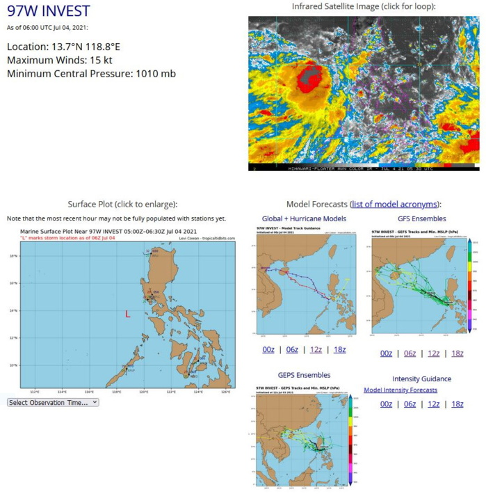 INVEST 97W.ANIMATED MULTISPECTRAL  SATELLITE IMAGERY (MSI) AND A 040202Z METOP-B IMAGE DEPICT 15 TO 20  KNOT WINDS AND FLARING CONVECTION IN THE WESTERN PERIPHERY OF AN  ELONGATED LOW LEVEL CIRCULATION (LLC). ENVIRONMENTAL ANALYSIS SHOWS  FAVORABLE CONDITIONS FOR DEVELOPMENT, WITH GOOD EQUATORWARD OUTFLOW,  LOW (10-15KTS) VERTICAL WIND SHEAR (VWS), AND VERY WARM (30-31C) SEA  SURFACE TEMPERATURES (SST). NUMERICAL MODELS ARE IN GENERAL  AGREEMENT THAT 97W WILL TRACK NORTHWESTWARD BUT ARE SPLIT REGARDING  INTENSIFICATION, WITH ECMWF DETERMINISTIC MODEL, THE ECMWF ENSEMBLE,  AND NAVGEM SHOWING DEVELOPMENT IN THE NEXT TWO TO THREE DAYS WHILE  THE GFS AND JGSM ARE BELOW WARNING CRITERIA.