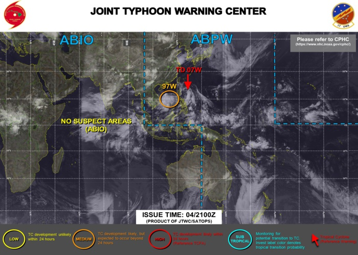 JTWC IS ISSUING 6HOURLY WARNINGS AND 3HOURLY SATELLITE BULLETINS ON TD 07W. INVEST 97W IS STILL MEDIUM.