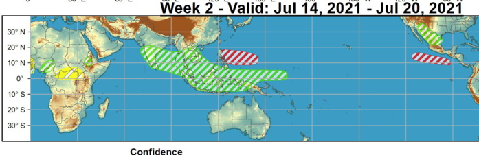 Large-scale conditions for Tropical Cyclone development are forecast to improve across the West Pacific by week-2. The ECMWF model remains the most bullish with TC development across the East Pacific by week-2, and wind shear is expected to diminish later in this period; therefore there is moderate confidence for tropical cyclone formation over the East Pacific during week-2. NOAA.