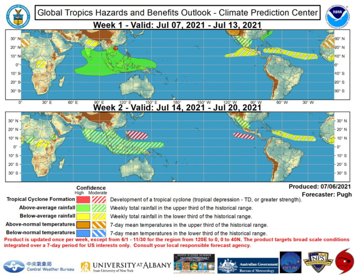 The Asian Monsoon is likely to be enhanced during the next two weeks with below normal precipitation favored for parts of the East Pacific, Caribbean, and tropical Atlantic. Easterly waves and periods of enhanced Monsoon flow are expected to favor above normal precipitation for parts of northern Mexico and the southwestern United States. NOAA.