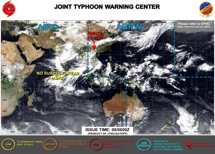 08/06UTC. NO SUSPECT AREAS WITHIN JTWC AREA OF RESPONSABILITY.