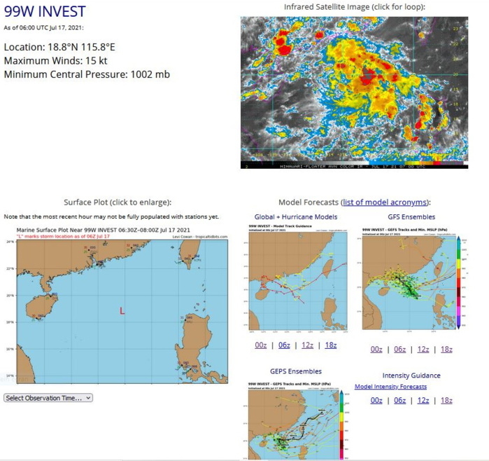 INVEST 99W. ANIMATED MULTISPECTRAL SATELLITE IMAGERY DEPICTS BROAD TURNING WITH FORMATIVE CONVECTIVE  BANDING OVER THE NORTHEAST QUADRANT. A 170232Z METOP-B ASCAT IMAGE  REVEALS 15KNOT WIND BARBS IN THE NORTHERN SEMICIRCLE AND WEAKER WINDS  ELSEWHERE, WRAPPING INTO A BROAD LOW LEVEL CIRCULATION CENTER  (LLCC). ENVIRONMENTAL ANALYSIS INDICATES FAVORABLE CONDITIONS WITH  GOOD WESTWARD OUTFLOW ALOFT, LOW (5-10 KTS) VERTICAL WIND SHEAR AND  WARM (31-32C) SEA SURFACE TEMPERATURES.