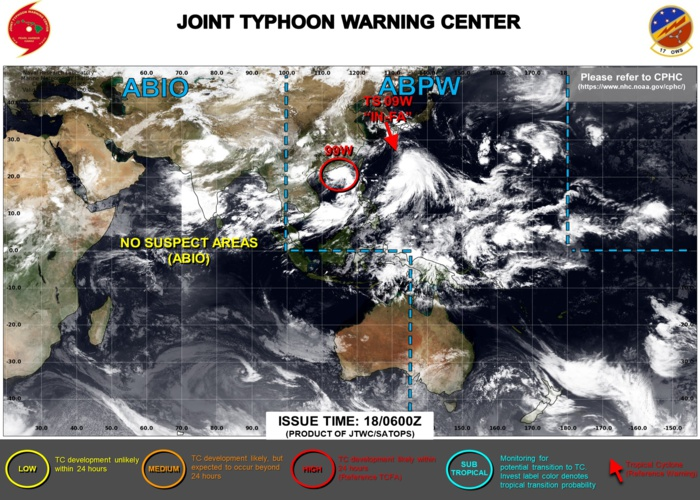 JTWC HAS BEEN ISSUING 6HOURLY WARNINGS AND 3HOURLY SATELLITE BULLETINS ON 09W(IN-FA). 3HOURLY SATELLITE BULLETINS ARE ISSUED ON INVEST 99W.