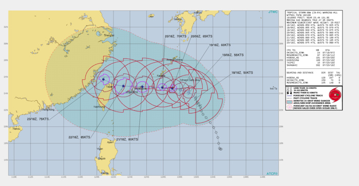 TS 09W(IN-FA). WARNING 11 ISSUED AT 18/21UTC.THERE ARE NO SIGNIFICANT CHANGES TO THE FORECAST FROM THE PREVIOUS WARNING.  FORECAST DISCUSSION: UNCERTAINTY IN INITIAL POSITION IS RESULTING IN SLIGHT SHIFTS IN THE FORECAST, AND NUMERICAL GUIDANCE IS LIKELY HAVING SIMILAR ISSUES. THE SYSTEM IS EXPECTED TO TRACK WEST-NORTHWESTWARD TO WESTWARD ALONG THE SOUTHERN PERIPHERY OF THE SUBTROPICAL RIDGE THROUGH THE FORECAST PERIOD. ADDITIONAL CONSOLIDATION AND INTENSIFICATION IS EXPECTED AS THE DEEP UPPER LOW IN THE WEST SEA CONTINUES TO FILL AND DRIFT POLEWARD, ENHANCING POLEWARD OUTFLOW.  GRADUAL INTENSIFICATION IS FORECAST DUE TO THE BROAD SIZE, REACHING  A PEAK INTENSITY OF AROUND 85 KNOTS/CAT 2 AS THE SYSTEM APPROACHES TAIWAN.  AFTER 96H, INTERACTION WITH TAIWAN WILL WEAKEN THE SYSTEM  SLIGHTLY. THE DEGREE OF WEAKENING IS HIGHLY DEPENDENT ON WHETHER THE  ACTUAL TRACK TAKES IN-FA OVER LAND, OR KEEPS IT OVER WATER.