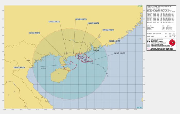 TS 10W. WARNING 2 ISSUED AT 18/21UTC.THERE ARE NO SIGNIFICANT CHANGES TO THE FORECAST FROM THE PREVIOUS WARNING.  FORECAST DISCUSSION: TS 10W IS FORECAST TO CONTINUE STEADILY TRACKING WEST-NORTHWESTWARD TO WESTWARD THROUGH 72H UNDER THE STEERING INFLUENCE OF THE WEAK SUBTROPICAL RIDGE TO THE NORTH. AFTER 72H, THE SYSTEM WILL SLOW UNDER COMPETING STEERING INFLUENCES AND TURN GRADUALLY BACK TO THE SOUTHEAST UNDER THE STEERING INFLUENCE OF THE LOW-LEVEL WESTERLY FLOW THAT IS EXPECTED TO BUILD IN TO THE SOUTH THROUGH THE COMING DAYS. IN GENERAL, THE NUMERICAL MODEL GUIDANCE SUPPORTS THE FORECAST TRACK, HOWEVER, THERE IS A LARGE DEGREE OF SPREAD DUE TO THE COMPLEX, EVOLVING SYNOPTIC STEERING ENVIRONMENT. TS 10W SHOULD INTENSIFY TO A PEAK OF 55 KNOTS AT 36H JUST PRIOR TO LANDFALL WITH STEADY WEAKENING AS THE SYSTEM TRACKS OVER LAND. TD 10W WILL LIKELY RE-INTENSIFY NEAR 120H OR SHORTLY AFTER REEMERGING BACK OVER WATER. THE INTENSITY IS HIGHLY DEPENDENT ON THE DEGREE THAT THE ACTUAL TRACK REMAINS OVERS LAND, AND COULD BE HIGHER IF TS 10W REMAINS NEAR THE COAST.