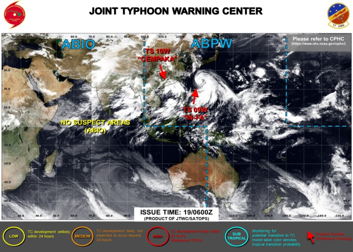 JTWC HAS BEEN ISSUING 6HOURLY WARNINGS ON 09W AND 10W. 3HOURLY SATELLITE BULLETINS ARE ISSUED FOR BOTH SYSTEMS.