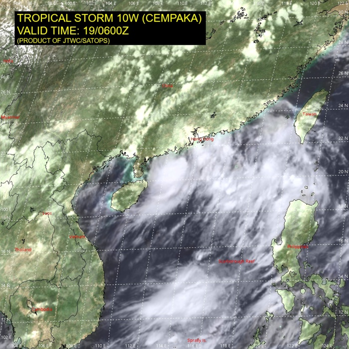 TS 10W(CEMPAKA). SATELLITE ANALYSIS, INITIAL POSITION AND INTENSITY DISCUSSION: ANIMATED MULTISPECTRAL SATELLITE IMAGERY (MSI) DEPICTS A COMPACT, CONSOLIDATING SYSTEM WITH TIGHTLY-CURVED BANDING WRAPPING INTO A WELL-DEFINED LOW-LEVEL CIRCULATION CENTER (LLCC). A 190542UTC AMSR2 MICROWAVE IMAGE REVEALS A MICROWAVE EYE FEATURE, WHICH SUPPORTS THE THE INITIAL POSITION WITH HIGH CONFIDENCE. THE INITIAL INTENSITY OF 50 KNOTS IS ASSESSED WITH HIGH CONFIDENCE BASED ON THE KNES AND PGTW DVORAK ESTIMATES AS WELL AS THE ADT ESTIMATE OF 47 KNOTS (190810Z ADT ESTIMATE NOW 49 KNOTS WITH WEAK EYE DEVELOPING IN VISIBLE IMAGERY). ENVIRONMENTAL ANALYSIS INDICATES FAVORABLE CONDITIONS WITH MODERATE POLEWARD AND EQUATORWARD OUTFLOW, LOW VERTICAL WIND SHEAR AND WARM SST VALUES.