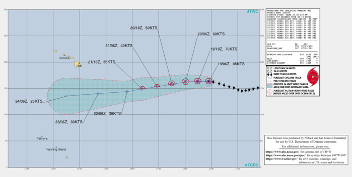 EASTERN PACIFIC. HU 06E(FELICIA). WARNING 21 ISSUED AT 19/10UTC. CURRENT INTENSITY IS 85KNOTS/CAT 2. FORECAST TO WEAKEN MARKEDLY NEXT 72HOURS DOWN TO BELOW 35KNOTS BY 72H.