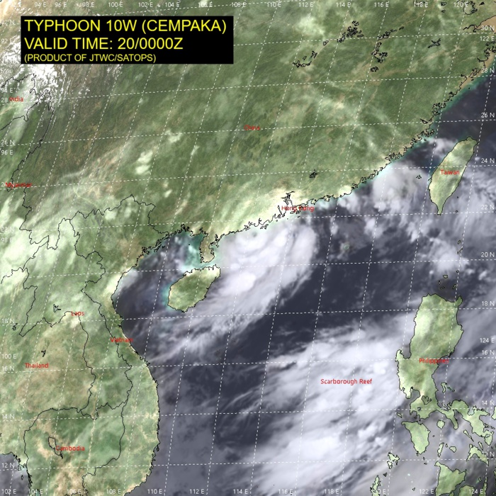 TY 10W(CEMPAKA).SATELLITE ANALYSIS, INITIAL POSITION AND INTENSITY DISCUSSION: ANIMATED MULTISPECTRAL SATELLITE IMAGERY (MSI) SHOWS THE SYSTEM HAS MAINTAINED OVERALL CONVECTIVE SIGNATURE AND A DEFINED, ALBEIT CLOUD-FILLED EYE, AS IT TRACKED VERY SLOWLY TOWARD CHINA. THE INITIAL POSITION IS PLACED WITH HIGH CONFIDENCE BASED ON THE EYE FEATURES BOTH IN THE MSI AND CNA COMPOSITE RADAR LOOPS THAT LINED UP PERFECTLY WITH A MICROWAVE EYE IN THE 192317UTC SSMIS 37GHZ IMAGE. THE INITIAL INTENSITY OF 65 KNOTS/CAT 1 IS ASSESSED WITH HIGH CONFIDENCE BASED ON THE DVORAK ESTIMATES FROM PGTW AND KNES AND REFLECTS THE SUSTAINED METSAT SIGNATURE.