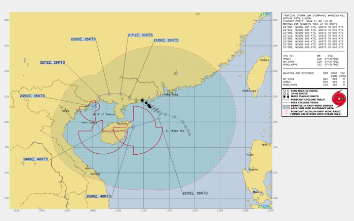 TS 10W(CEMPAKA). WARNING 11 ISSUED AT 20/03UTC.THERE ARE NO SIGNIFICANT CHANGES TO THE FORECAST FROM THE PREVIOUS WARNING.  FORECAST DISCUSSION: TS 10W WILL TRACK FURTHER INLAND AND GENERALLY WESTWARD UNDER A LOW REFLECTION OF THE STR. AFTER 36H, AS SECONDARY STR TO THE WEST WILL ASSUME STEERING AND DRIVE THE CYCLONE SOUTHWARD INTO THE GULF OF TONKIN (GOT) AND INTO HAINAN BY 72H. AFTERWARD, THE SYSTEM WILL DRIFT EAST-NORTHEASTWARD WITH AN AMPLIFIED MONSOON FLOW IN THE SOUTH CHINA SEA. THE RUGGED TERRAIN AND INCREASED VERTICAL WIND SHEAR WILL CONTINUE TO ERODE THE SYSTEM DOWN TO 25KNOTS BY 24H. HOWEVER, AFTER IT EXITS BACK ONTO WATER IN THE GOT, IT WILL REGAIN TS INTENSITY MOMENTARILY UNTIL IT BECOMES EXPOSED TO HIGH VERTICAL WIND SHEAR IN THE SOUTH CHINA SEA ASSOCIATED WITH THE SOUTHWEST MONSOON. THERE IS A DISTINCT POSSIBILITY THAT TS CEMPAKA WILL DISSIPATE OVER LAND IN THE NEXT 36HRS.
